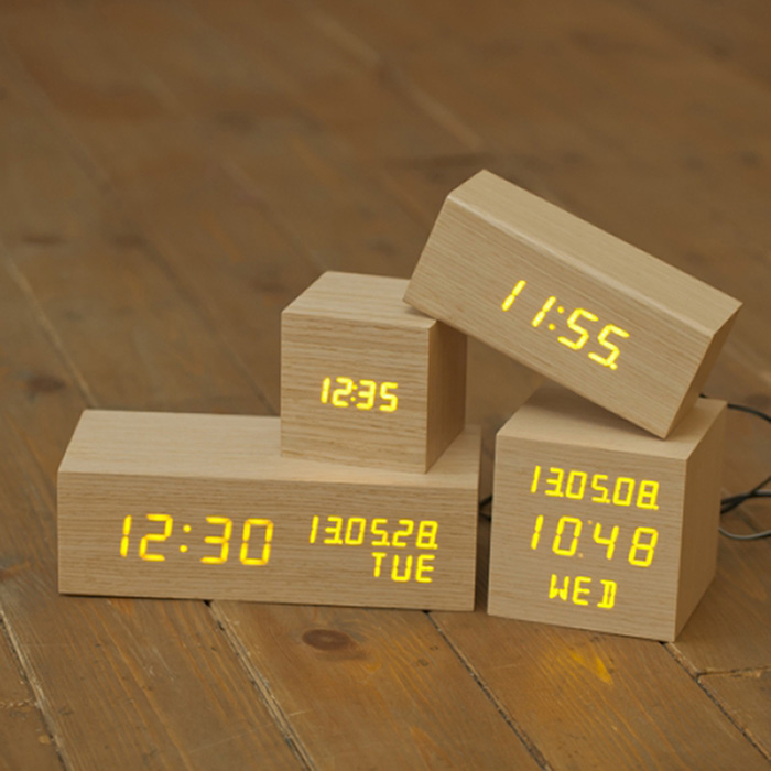 new modern real wooden wood digital orange led alarm clock