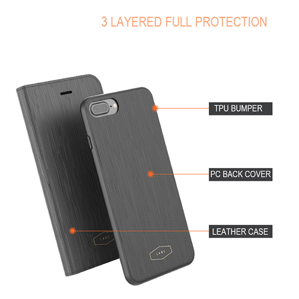 new product 9e3c4 a7f61 Details about Smart Wallet 2 in 1 Leather Cover Dual Protection Phone Case  for iPhone 7 7Plus