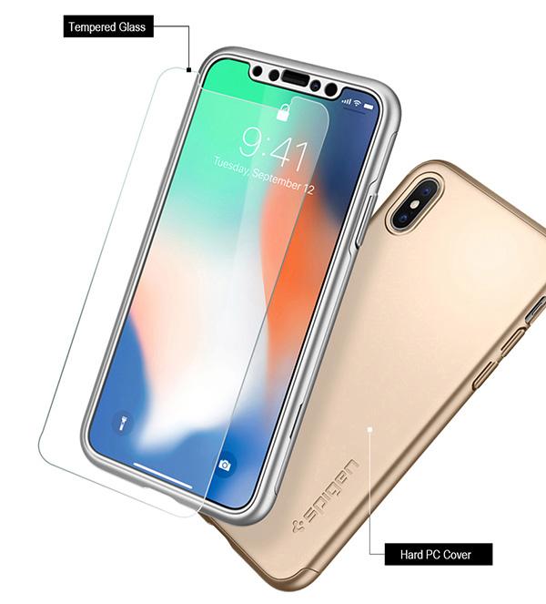 new concept dff3a 1cb41 Details about Original Spigen ThinFit 360 Full Cover Protection Phone Case  Cover Apple iPhoneX